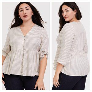 Torrid Ivory Stripe Button Front Babydoll Top 5